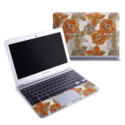 Samsung 11-6 Chromebook Skin - Orange and Grey Flowers