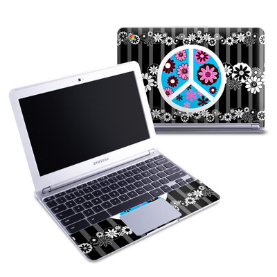 Samsung 11-6 Chromebook Skin - Peace Flowers Black