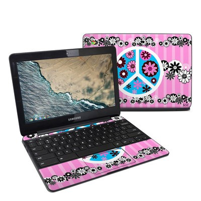 Samsung Chromebook 3 Skin - Peace Flowers Pink