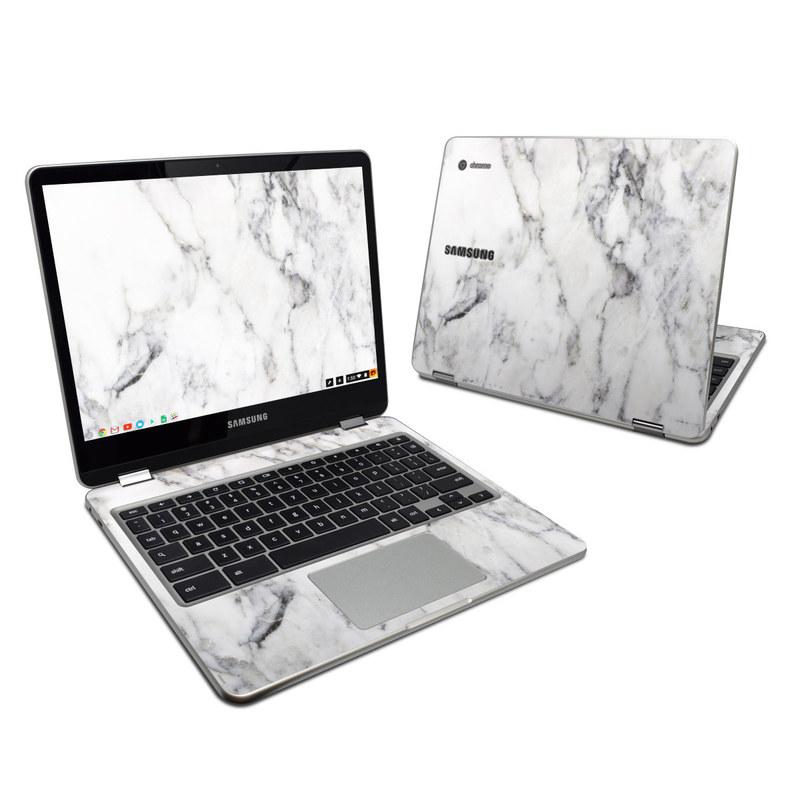 samsung chromebook plus. samsung chromebook plus skin - white marble 1