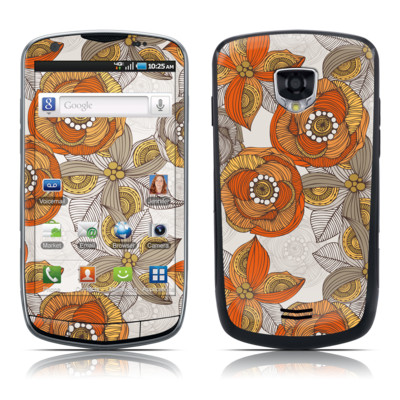 Samsung Droid Charge Skin - Orange and Grey Flowers