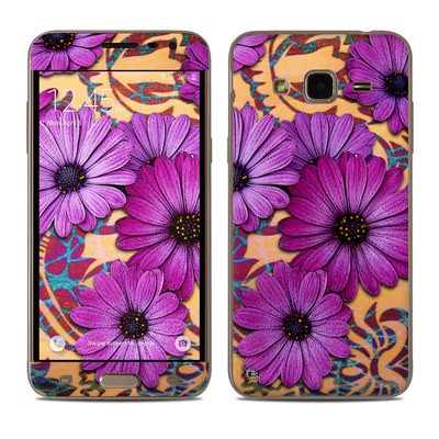 Samsung Galaxy J3 Skin - Purple Daisy Damask