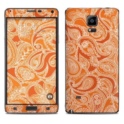 Samsung Galaxy Note 4 Skin - Paisley In Orange