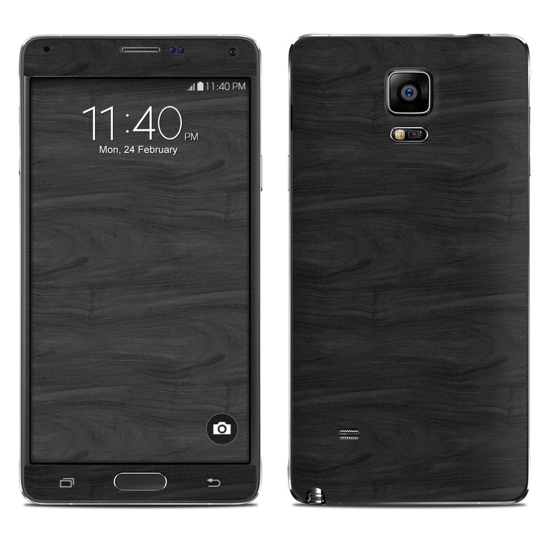 Samsung Galaxy Note 4 Skin Black Woodgrain Decalgirl