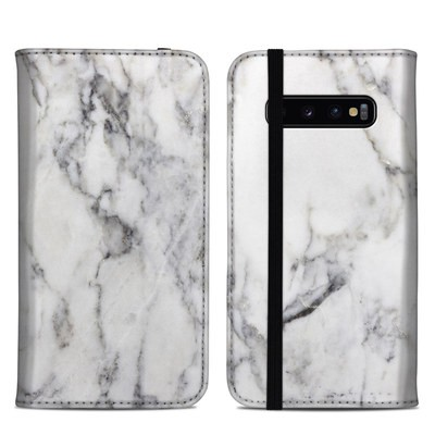 Samsung Galaxy S10 Plus Folio Case - White Marble