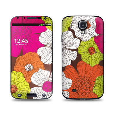 Samsung Galaxy S4 Skin - Brown Flowers