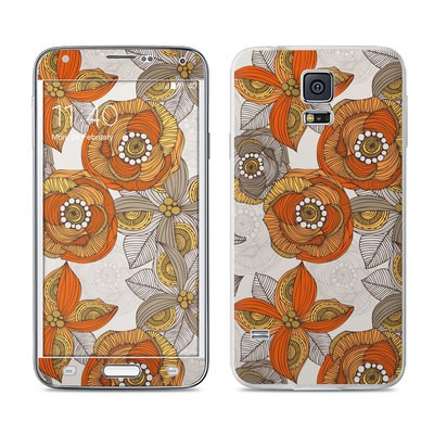 Samsung Galaxy S5 Skin - Orange and Grey Flowers