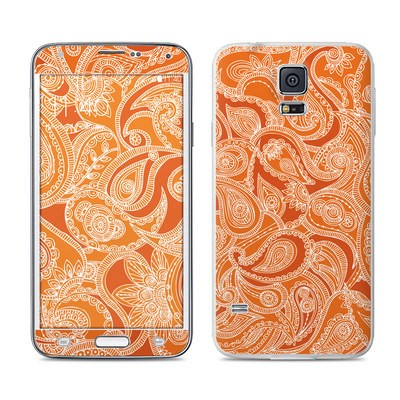 Samsung Galaxy S5 Skin - Paisley In Orange