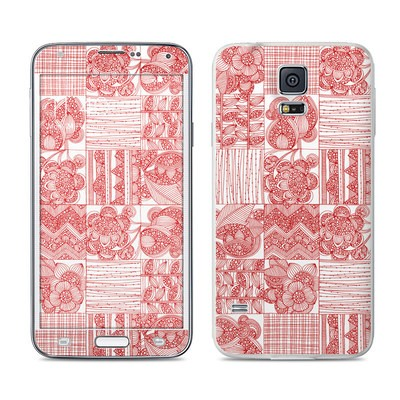 Samsung Galaxy S5 Skin - Red Quilt