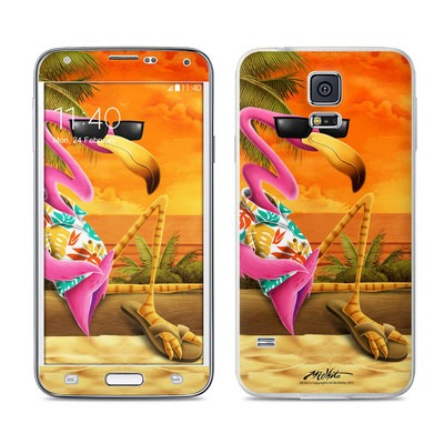 Samsung Galaxy S5 Skin - Sunset Flamingo