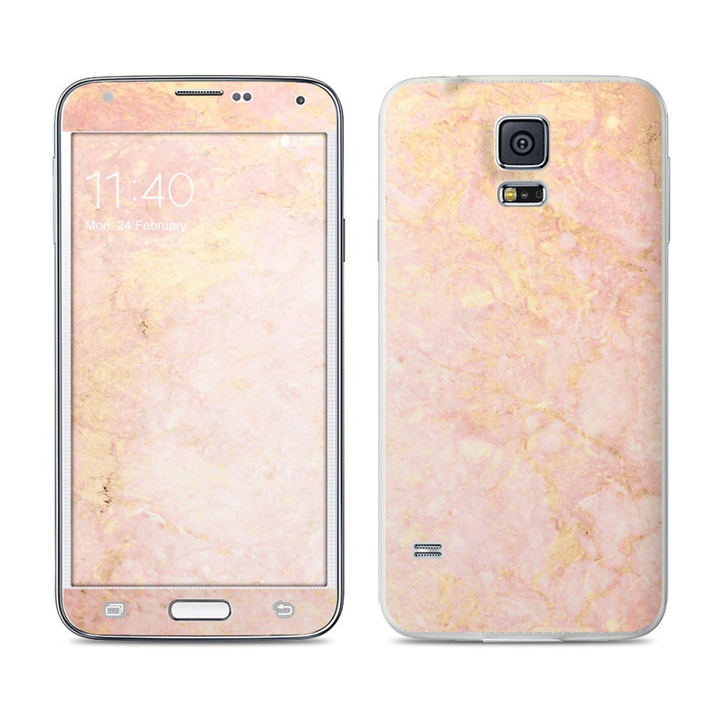 release date: 6365b f97c9 Samsung Galaxy S5 Skin - Rose Gold Marble