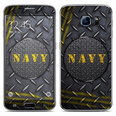 Samsung Galaxy S6 Skin - Navy Diamond Plate