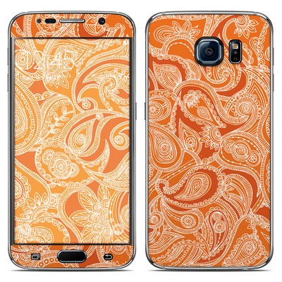 Samsung Galaxy S6 Skin - Paisley In Orange