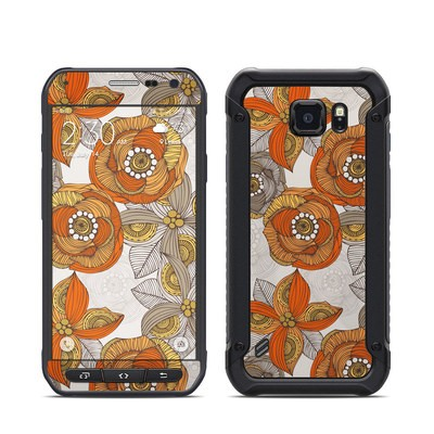 Samsung Galaxy S6 Active Skin - Orange and Grey Flowers