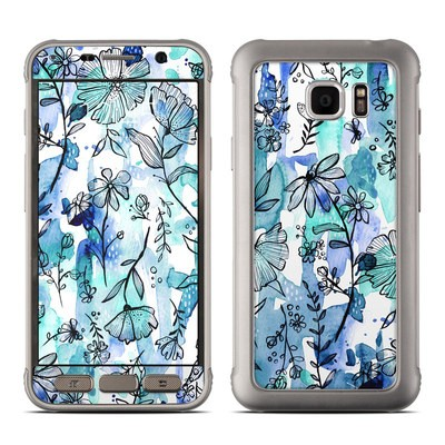 Samsung Galaxy S7 Active Skin - Blue Ink Floral