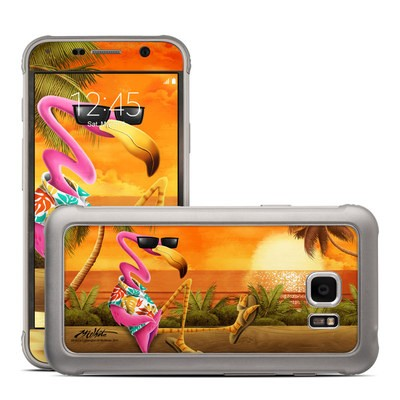 Samsung Galaxy S7 Active Skin - Sunset Flamingo