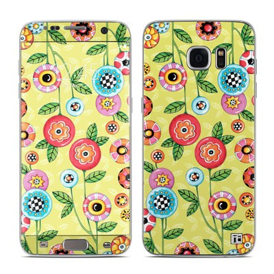 Samsung Galaxy S7 Edge Skin - Button Flowers