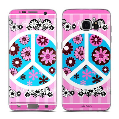 Samsung Galaxy S7 Edge Skin - Peace Flowers Pink