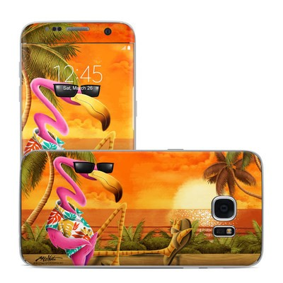 Samsung Galaxy S7 Edge Skin - Sunset Flamingo