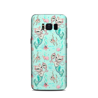 Samsung Galaxy S8 Skin - Merkittens with Pearls Aqua