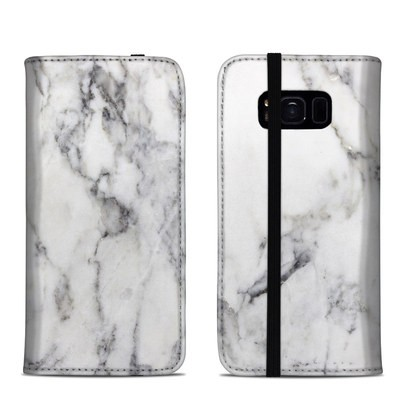Samsung Galaxy S8 Folio Case - White Marble