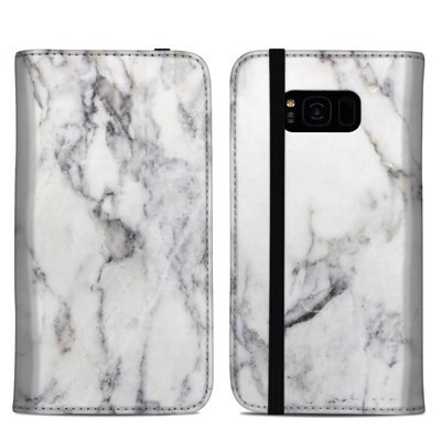 Samsung Galaxy S8 Plus Folio Case - White Marble
