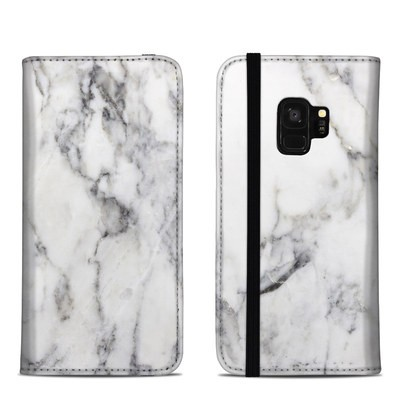 Samsung Galaxy S9 Folio Case - White Marble