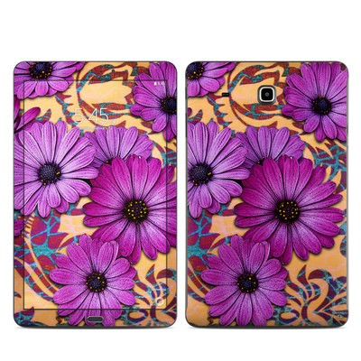 Samsung Galaxy Tab E Skin - Purple Daisy Damask