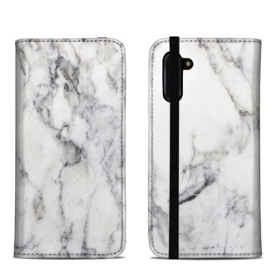 Samsung Galaxy Note 10 Folio Case - White Marble