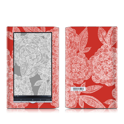 Sony PRS-950 Reader Skin - Red Dahlias