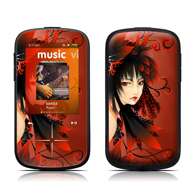 SanDisk Sansa Fuze Plus Skin - Black Flower