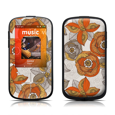 SanDisk Sansa Fuze Plus Skin - Orange and Grey Flowers