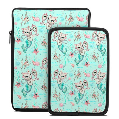 Tablet Sleeve - Merkittens with Pearls Aqua