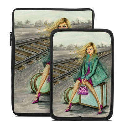 Tablet Sleeve - Lulu Waiting by the Train Tracks
