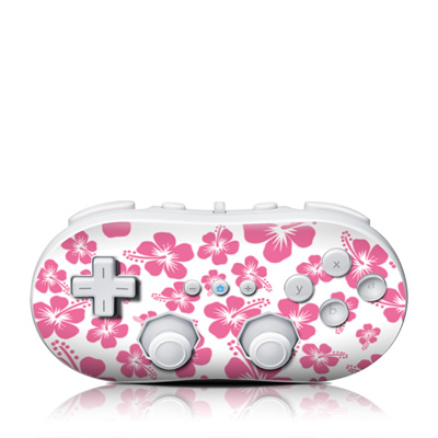 Wii Classic Controller Skin - Pink Hibiscus
