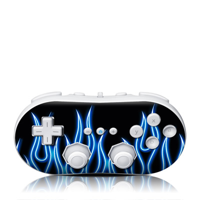 Wii Classic Controller Skin - Blue Neon Flames