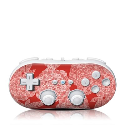 Wii Classic Controller Skin - Red Dahlias