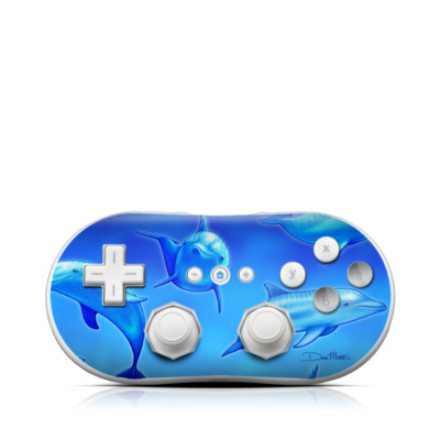 Wii Classic Controller Skin - Swimming Dolphins