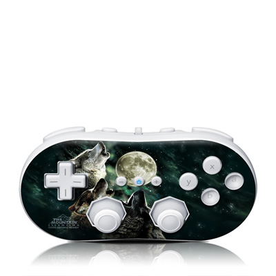 Wii Classic Controller Skin - Three Wolf Moon