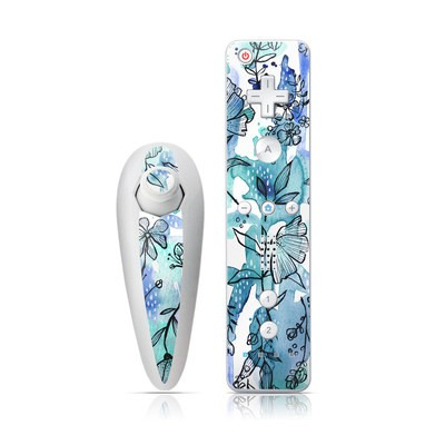 Wii Nunchuk Skin - Blue Ink Floral