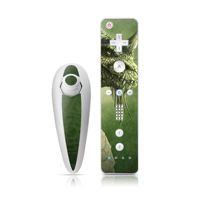 Wii Nunchuk Skin - Green Dragon