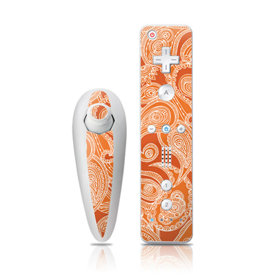 Wii Nunchuk Skin - Paisley In Orange