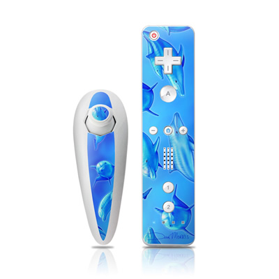 Wii Nunchuk Skin - Swimming Dolphins