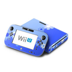 Wii U Skin - Retro Blue Flowers