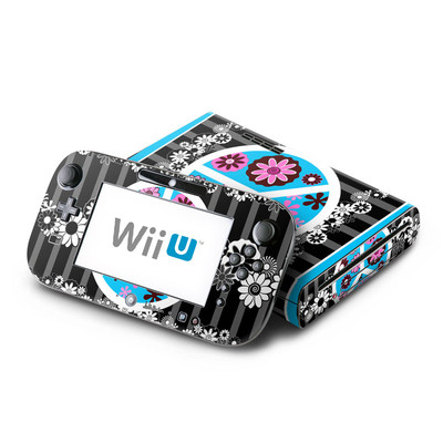 Wii U Skin - Peace Flowers Black