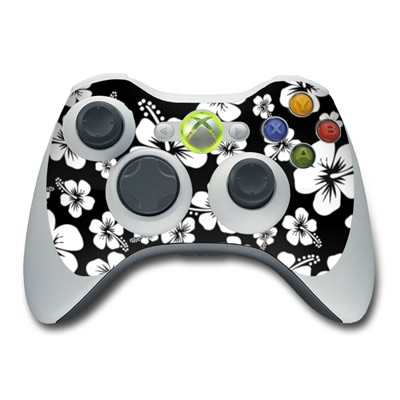 Xbox 360 Controller Aloha Black Hawaiian Flowers Protector Skin Decal Cover