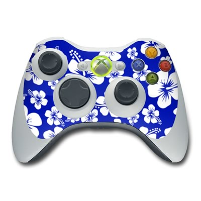 Xbox 360 Controller Aloha Blue Hawaiian Flowers Protector Skin Decal Cover