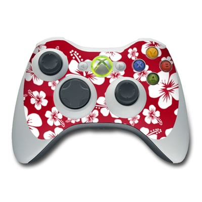 Xbox 360 Controller Aloha Red Hawaiian Flowers Protector Skin Decal Cover