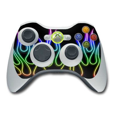 Xbox 360 Controller Skin - Rainbow Neon Flames