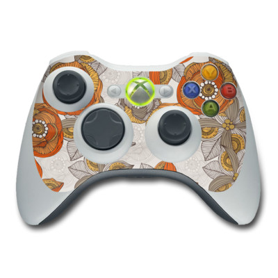 Xbox 360 Controller Skin - Orange and Grey Flowers
